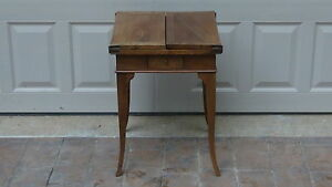 ANTIQUE EARLY 18c FRENCH WALNUT WORK TABLE W/FOLD OUT TOP & FLARED TAPERED LEGS