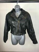 Women's Black Faux Leather Zip Up Biker Jacket Size Medium