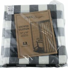 Wicklow Black Cream Check Shower Curtain Bathroom by Park Designs 72""