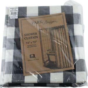 "Wicklow Black Cream Check Shower Curtain Bathroom by Park Designs 72"" Farmhouse"