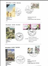 ITALY-6 first flight cards/covers from 1984-1988- All Lufthansa