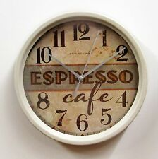 "SMALL ""EXPRESSO CAFE""  KITCHEN WALL CLOCK 8.5"" -  MADE BY KOLE  OF939"