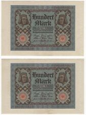1920 Germany 100 Mark | Bank Notes | Consecutive Numbers | Pennies2Pounds