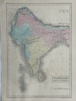 1854 India Hindustan Hand Coloured Antique Map by Selina Hall
