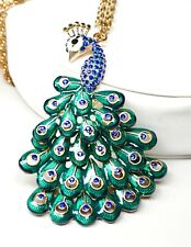 "Peacock Bird Enameled 3"" Pendant on Chain Articulating Tail Blue Rhinestones"