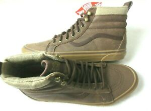 Vans Men's Sk8-Hi Mte Brown Leather Herringbone All Weather Boots Size 9.5 NWT