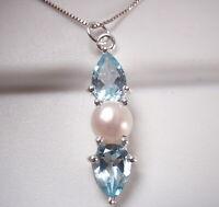 Cultured Pearl & Faceted Blue Topaz 3-Gem 925 Sterling Silver Pendant