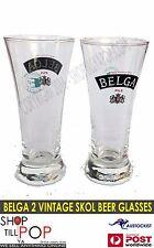 Belga Diablo 2 x Vintage  Skol Middy Glasses 250ml Vin' 1970's Man CAVE Belgium