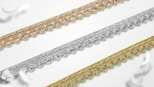 1 Metre Sequin Lace Sew-on Available in Gold, Silver and Copper Gold 1.5cm Wide