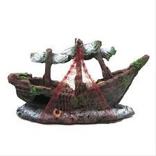 Aquarium Ornament Wreck Sailing Boat Sunk Ship Destroyer Fish Tank Cave Decor 5H