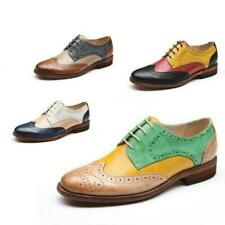 Womens British Mixed-colored Brogues Wingtip Real Leather Lace up Formal Shoes