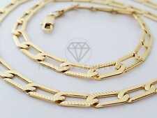 "18K Gold Plated 5mm/24"" Figaro 1x1 Link Chain|Cadena Figaro 1x Link Laminado 18K"