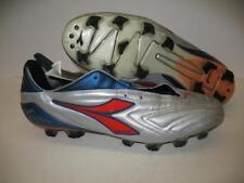 Diadora ATTIVA Plus RTX 12 Leather Soccer Shoes Cleats Silver Red Blue Mens  12.5 0fe0b4e27eb