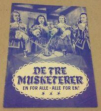 """Les 3 Mousquetaires"" Georges Machal Old 1953 Danish Original Vtg Movie Program"
