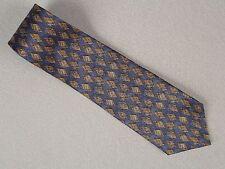 7th Ave, Blue Gold Black 100% Silk  Necktie Neck Tie 58L, 4W