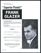 1959 Frank Glazer photo piano recital tour booking trade print ad