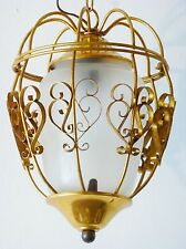 ADORABLE LANTERNE LAMPE SUSPENSION CAGE DOREE 1950 VTG ROCKABILLY 50S LANTERN