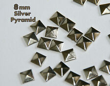 100  --   8mm Silver Pyramid Flat Back Studs Hotfix  Iron On Glue On- FlatBack