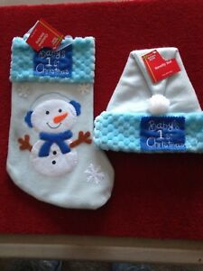 """Baby's First Christmas Blue Stocking 15"""" and Hat Very Cute (s103)"""