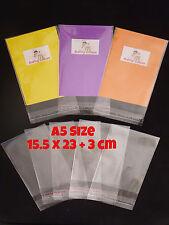 100 CELLOPHANE BAGS - A5 Size 15.5cm x 23cm +3cm lip - SELF SEAL - Free Postage