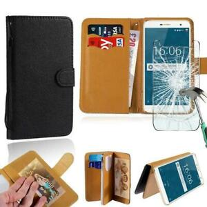 Leather Stand Wallet Case +Tempered Glass Screen Protector For Doogee Phones