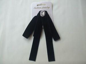 Black Blouse Collar Brooch Oval Crystal Stone Top Velvet Bow New