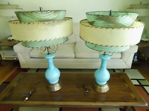 Mid Century Modern, MCM - Matching Atomic Turquoise, 3 Tier Shades, Table Lamps