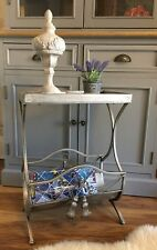 Ornate metal magazine rack side lamp table shabby french chic ornate vintage