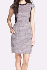 Halogen Tweed & Stretch Knit Sheath Dress BLACK-PINK EXOTIC Size 12 NWT