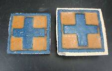 "(2) Very Rare - Grueby Pottery Tile - (2 Colors) - Geometrics - 4"" x 4"""