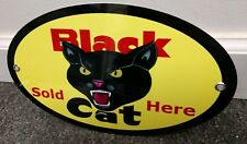 Black Cat Fireworks Sold Here Sign ... Oval 12 inches wide