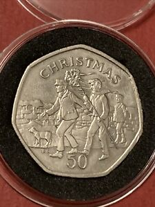 1994 Isle of Man 50p Pence Christmas Coin UNC Hunting The Wren In Capsule