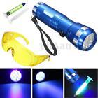 Leak Detection Kit A/C Automotive Fluid Gas Safety Glasses & 14 LED UV Light Set