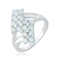 Womens White gold filled clear crystal engagement Wedding Ring size 6 7 8