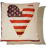 "4 X HEART STARS STRIPES USA FLAG RED WOVEN 17""-43CM CUSHION COVERS"
