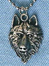 AMERICAN INDIAN WOLF PEWTER PENDANT MENS BOYS WOMENS GIRLS NECKLACE CHAIN PC0375
