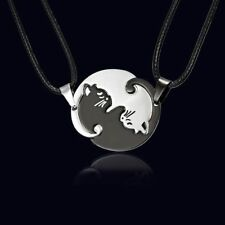 1Pair Stainless Steel Yin and Yang Cat Necklace Set Couples Best Friend Puzzle