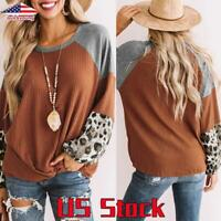Women Crew Neck Long Sleeve Blouse Casual Leopard Print T Shirt Loose Tunic Tops