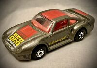 1986 Vintage Matchbox - Porsche 959 - 1:58 Scale Model Car Gray Red Yellow