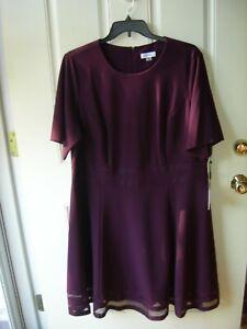 NWT!! Calvin Klein 18W Burgundy Short Sleeve Dress