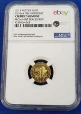 2015 Austria Gold 1/10th oz Philharmonic 10 Euro Coin NGC Certified Genuine 7630