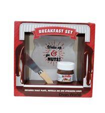 Nutella Chocolate Jar Toast Plate & Spreading Knife Breakfast Set Xmas Gift Box