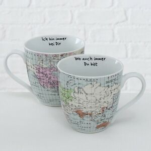 Jumbo Becher Tasse Weltreise Weltkarte  je 600 ml Partnertasse 2er Set