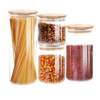 4 Pcs Airtight Food Storage Containers Transparent Sealed Jar with Wooden Lids
