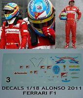 DECALS 1/18 KIT FERNANDO ALONSO FERRARI F1 2011 FIGURINE FIGURE DRIVER