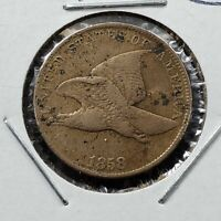 1858 Flying Eagle Cent Penny Coin Large Letters LL F / VF Details lite corrosion