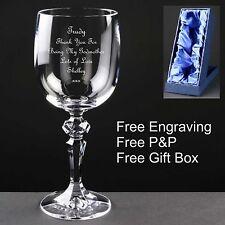 Personalizzata 10oz bicchiere di vino, Madrina regalo, libero INCISIONE con scatola in raso