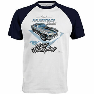 Mens Ford Mustang Mach 1 T Shirt Genuine American Classic Vintage Muscle Car