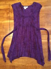 NWOT Colors Artwear Jr Womens Sleeveless Asymmetrical Tunic Dress Size 3 Purple