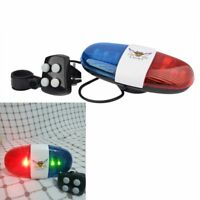 6 LED Bike Bicycle Police Light + 4 Loud Siren Sound Trumpet Cycling Horn Bell